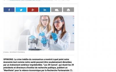 L'innovation comme levier de souveraineté, un article de l'association des Instituts Carnot dans le journal La Tribune du 28/08/2020
