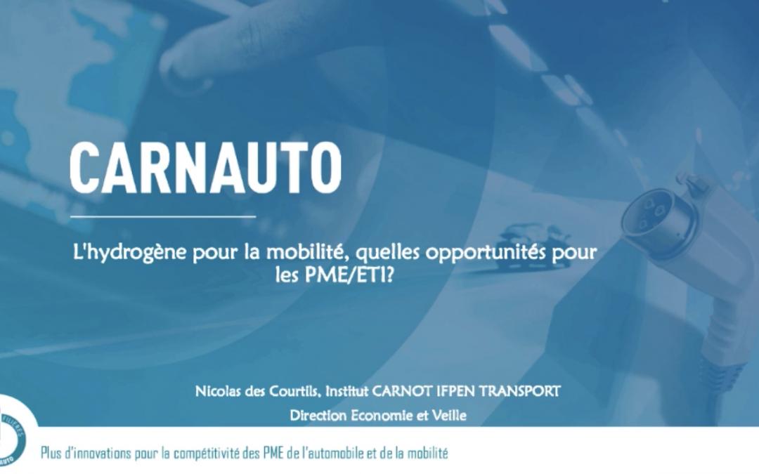 """Replay Webinar Carnauto  """"l'Hydrogène pour la mobilité"""" n°1 : la production d'hydrogène"""